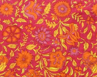 indian floral print cotton fabric - 1 yard - ctnp343
