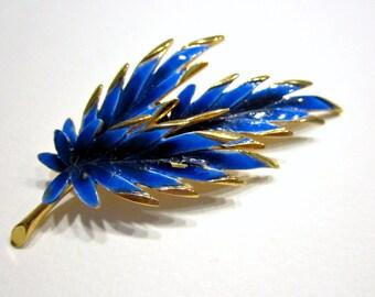 Vintage PIM Blue Enamel Leaf Leafy Designer Signed Enameled Gold Blue Brooch Gift for Mom Gift for Her