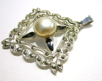 "Vintage Marcasite Pearl Pendant Silver Black Enamel 2"" Long Art Deco Style Pendant Gift for Her Gift for Mom"
