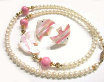Vintage Angel Fish Jewelry Mother of Pearl Pink Necklace Earring Set Gift for Her Gift for Mom Fish Jewelry Faux Pearl Necklace Set