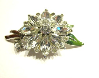 Vintage Enamel Coro Fur Clip Signed Vintage 1940 Enameled Rhinestone Leaves Flower Old Jewelry Antique Jewelry Clip Brooch