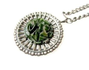 Vintage Green Bakelite Necklace Carved Round Pierced Bakelite Medallion Pendant Silver Mounting Under 50