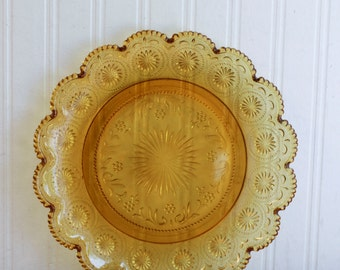 Vintage Glass Plate, Amber Glass, 1970s Serving Plate, Starburst Pattern, Scalloped Edge, Retro Entertaining