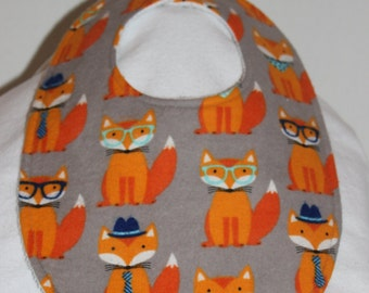 Dapper Fox Flannel / Terry Cloth Bib