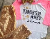 Threenager Birthday Shirt Third Birthday Shirt Girls Birthday Shirt Funny kids shirt 3rd birthday shirt glitter or metallic birthday shirt