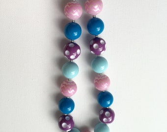Baby Girl Chunky Necklace - Girls Chunky Necklace - Chunky Bubble Gum Necklace - Frozen Necklace - Frozen Bubblegum Necklace-
