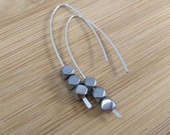 Black Gemstone Earrings. Sterling Silver Open Hoops. Hematite Earrings. Black and Silver Pull Through Earrings. Hematite Hoops.