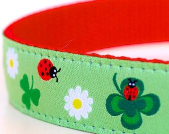 Lucky Ladybug Dog Collar, Green Pet Collar, Adjustable Ribbon Collar, Daisy, Shamrock