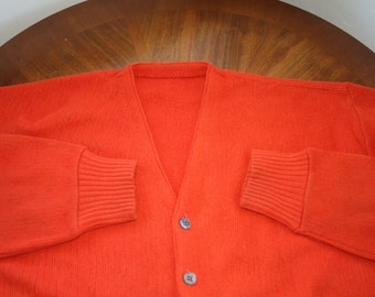 Vintage Mens Cardigan Sweater • Burnt Orange Cardigan Sweater • Golf Sweater • Grandpa Sweater