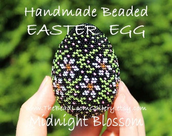 Handmade Beaded Easter Egg - Midnight Blossom