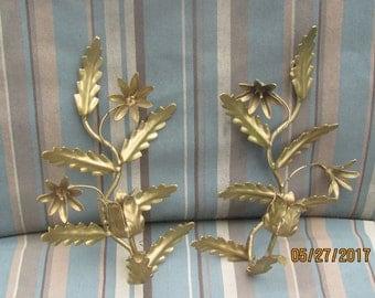 REDUCED Vtg Pair Shabby Gold Metal Leaf Vine Designs Tole Candle Holder Wall Sconces