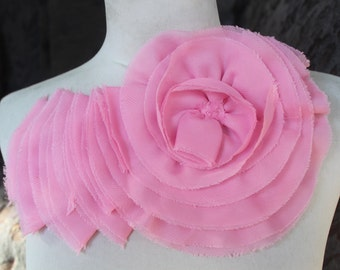 Nice ruffled  applique yoke pink  color 1 pieces listing