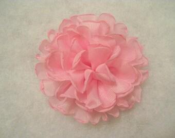"4"" To 4.25"" Large Singed Edge Chiffon Pink Flower, singed flower, singed chiffon flower, pink flower, pink singed flower"