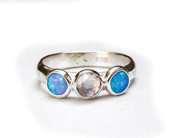 Opal ring,  Blue opal Gemstone ring, Lab diamonds silver ring, Engagement Ring, anniversary ring, stacking stone ring, gift idea