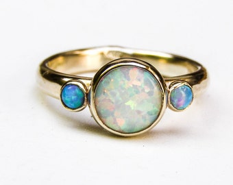Unique Engagement Ring,  Blue Opal Ring,14k gold ring , Wedding Ring, White opal rings, Anniversary Ring, Hammerd gold, gift for her
