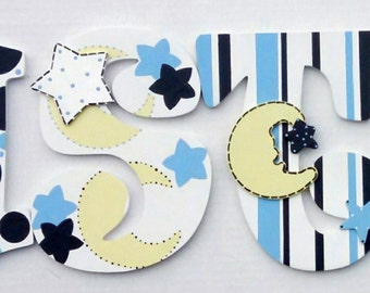 Boys Embellished Wood Letters for nursery, hand painted boy nursery hanging letters, wall letters, custom decorated