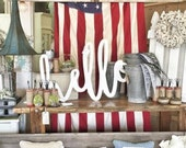 Large Painted hello Word Wood Cut Wall Art Sign Decor