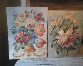 2 Vintage Floral Paintings from 1930
