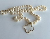 Pearl Necklace Bridal Jewelry 14k Gold Four Leaf Clover Necklace Bridal Pearl Necklace Gift for her