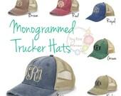 Monogrammed Trucker Hat, Distressed Navy Trucker Hat - Personalized Ball Cap, Mesh Trucker Hat