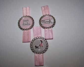 Paris Party Favors / Paris Bracelets / Set of 6 / Girls Elastic Bracelets / Girls Party Favors / Eiffel Tower Bracelet