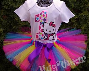 Kitty theme Birthday Shirt + Tutu Outfit (any age)