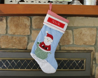 Blue Santa in Sleigh --- Christmas Stocking with Monogram Pottery Barn Quilted Stocking --- Free Monogram