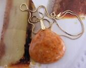 Orange Calcite Pendent Necklace