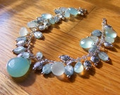 Aqua Chalcedony Bracelet with Kyanite and Sterling Silver Beads