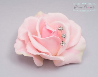 Blush Pink Rose Hair Clip with rhinestone sprays. Real Touch Flowers. Caroline Rose Collection