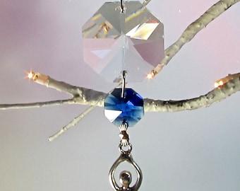 Goddess Sun Catcher, Christmas Ornament, Sapphire Crystal,