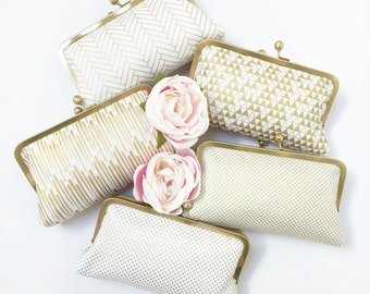 metallic collection : custom clutch, gold pattern clutch, bridesmaid gift, personalized gift