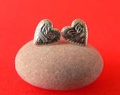 Vintage Heart Earrings - Sterling Silver - Stud Earrings