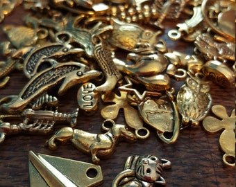 Charm and Bead Mix, 50 Charms, Mixed, Gold Tone, UK Seller, random mix, bargain price while stocks last