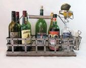 "Galvanized Metal & Wood Milk Bottle Carrier ""Farmhouse Chic Ripe For Repurpose"""