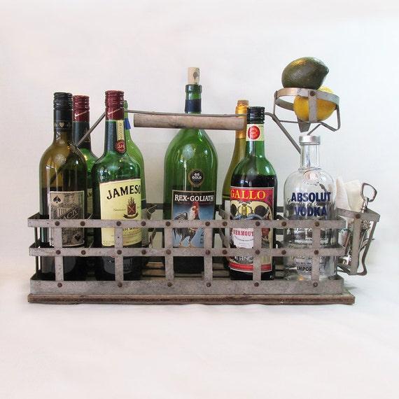 galvanized metal wood milk bottle carrier farmhouse. Black Bedroom Furniture Sets. Home Design Ideas