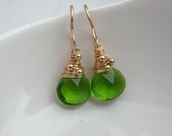 Parrot Green Quartz Teardrop Earrings
