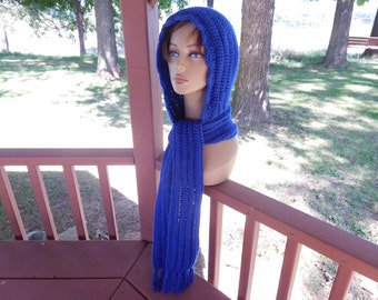 "Hoodie in Royal Blue with 70"" Scarf and Fringe"