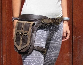 Leather Leg Holster Utility Belt  Steampunk Burningman Festival Hip Belt Bag with Pockets in Brown HB31g * Free Shipping*