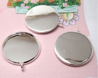 50 Brass Silver Plated Round Cabochon Mounting W/ Ring, 10mm/ 12mm/ 14mm/ 16mm/ 18mm/ 20mm/ 25mm  as your choice
