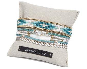 Beaded multistrand bracelet - turquoise bracelet - bohemian bracelet - handwoven bead loom bracelet - gypsy jewelry - boho jewelry