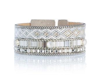 Wide friendship bracelet cuff in pale blue - pastel blue summer bracelet - wide cuff - statement cuff - statement jewelry with Swarovski