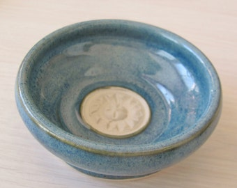 Garlic Grater, Garlic Bowl, Serving Dish Dipping Bowl Kitchen Dining Ceramic Pottery Home Decor Tableware Stoneware Pottery Blue Dishes Pot