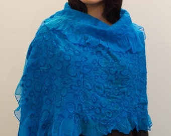 Felted turquoise shawl, Ocean wave, Silk and wool shawl, Handmade silk wool shawl, Handmade felt shawl made in Europe handmade scarf Doseth