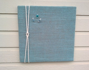 Bulletin or PinBoard made from Burlap with a nautical rope detail, for your kitchen, cabin or office to hold photos, memos or notes