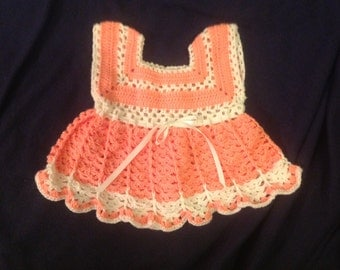Peach and White Crochet Baby Dress