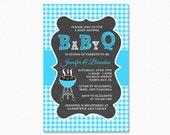 Baby Q Baby Shower Invitation, Barbeque Baby Shower, Blue Stripes, Chalkboard Background, Boy, Printable Baby Shower Invitation
