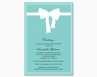 Breakfast at Tiffany's Baby Shower Invitation, Brunch Baby Shower Invitation, Teal Blue, Ribbon Bow, Printable or Printed