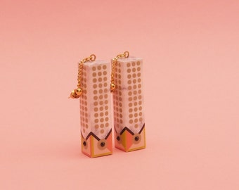 "Geometric Earrings // Drop Earrings // Marble Earrings // Mod Earrings // Op Art Earrings //  The "" Mini Chandelier"""