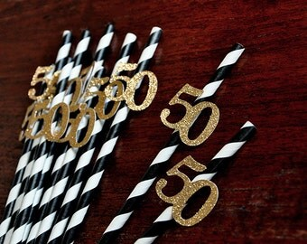 Black and Gold Straws for 50th Party 10CT.  Handcrafted in 2-3 Business Days.  50th Birthday Party Ideas.